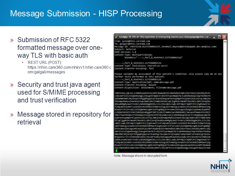Message Submission - HISP Processing »Submission of RFC 5322 formatted message over one- way TLS with basic auth REST URL (POST): https://nhin.care360