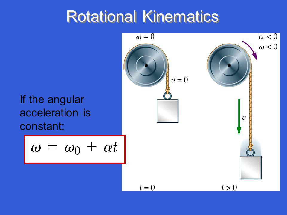 Rotational Kinematics If the angular acceleration is constant: