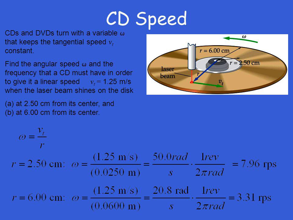 CD Speed CDs and DVDs turn with a variable that keeps the tangential speed v t constant. Find the angular speed and the frequency that a CD must have