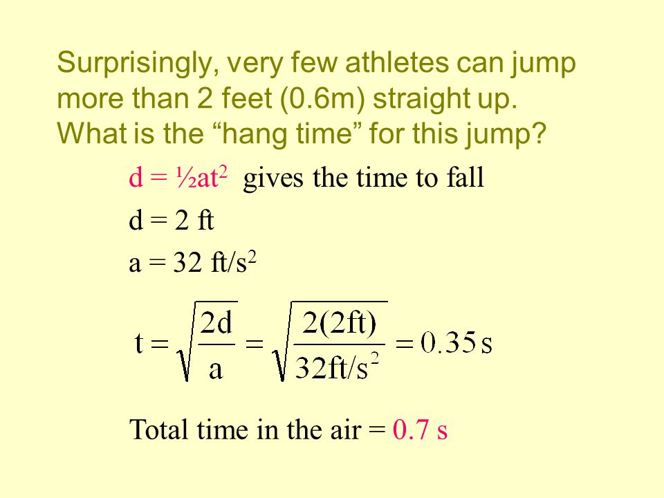 Surprisingly, very few athletes can jump more than 2 feet (0.6m) straight up. What is the hang time for this jump? d = ½at 2 gives the time to fall d