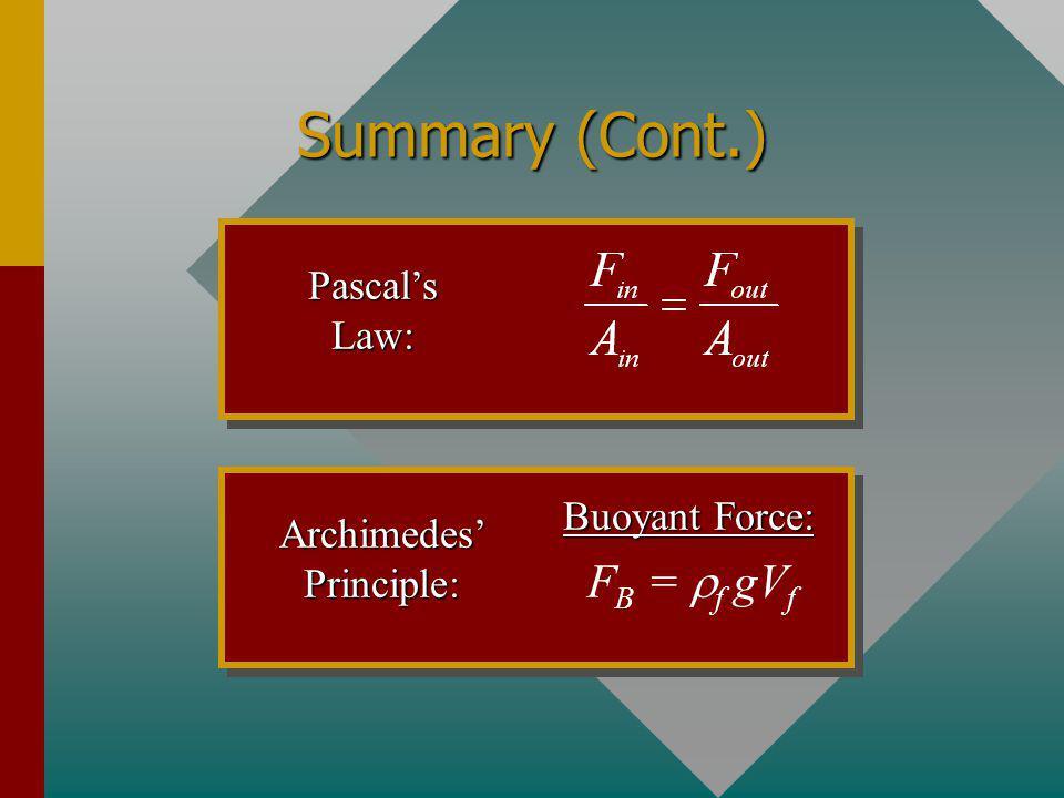 Summary Pascal : P = gh Fluid Pressure: