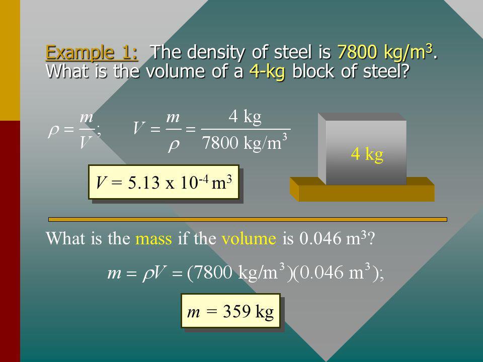 Mass Density 2 kg, 4000 cm 3 Wood 177 cm 3 45.2 kg Lead: 11,300 kg/m 3 Wood: 500 kg/m 3 4000 cm 3 Lead Same volume 2 kg Lead Same mass
