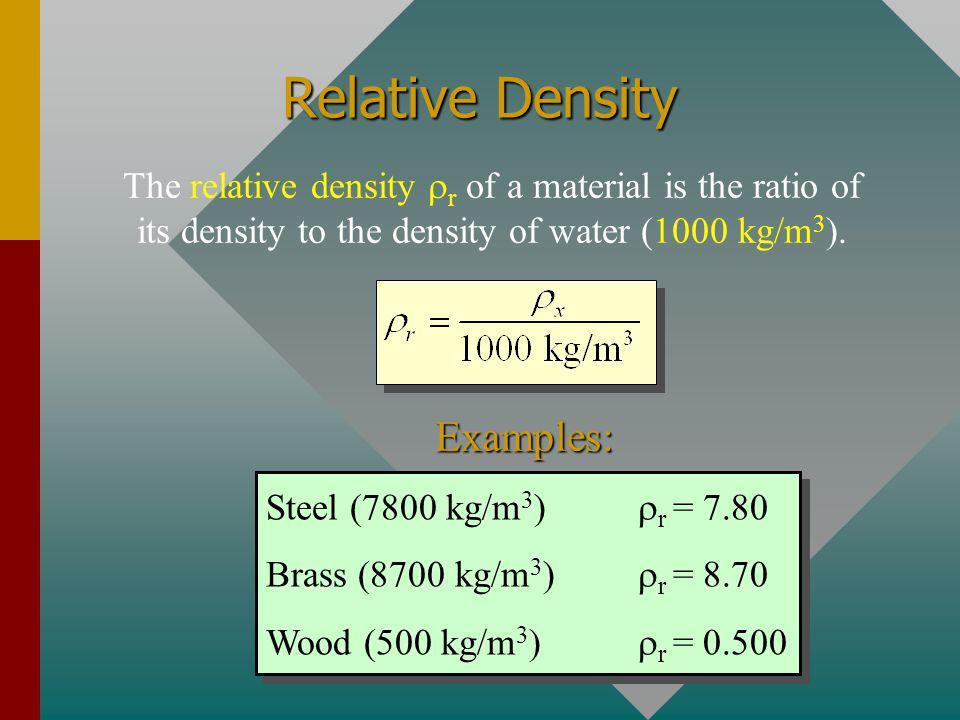 Example 1: The density of steel is 7800 kg/m 3. What is the volume of a 4-kg block of steel? 4 kg V = 5.13 x 10 -4 m 3 What is the mass if the volume