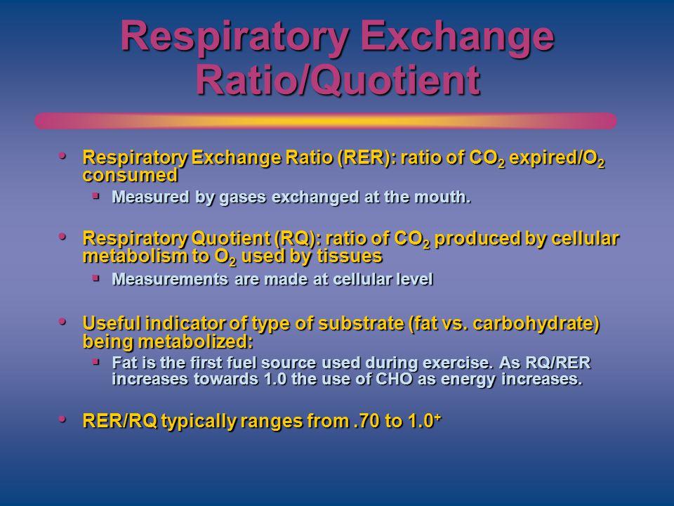 Respiratory Exchange Ratio/Quotient Respiratory Exchange Ratio (RER): ratio of CO 2 expired/O 2 consumed Respiratory Exchange Ratio (RER): ratio of CO