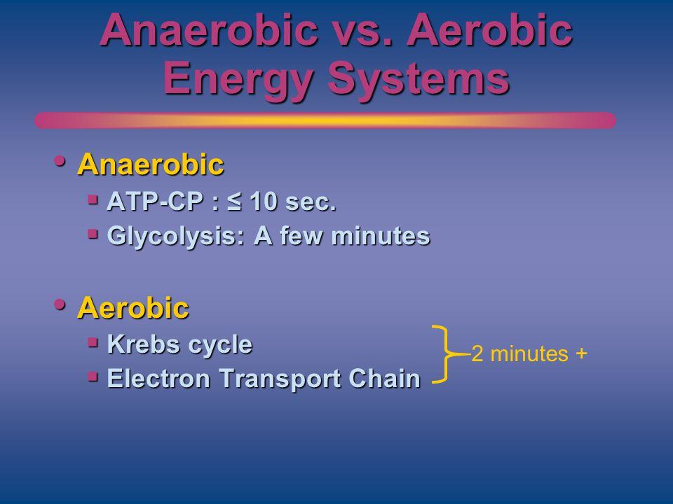 Anaerobic vs. Aerobic Energy Systems Anaerobic Anaerobic ATP-CP : 10 sec. ATP-CP : 10 sec. Glycolysis: A few minutes Glycolysis: A few minutes Aerobic