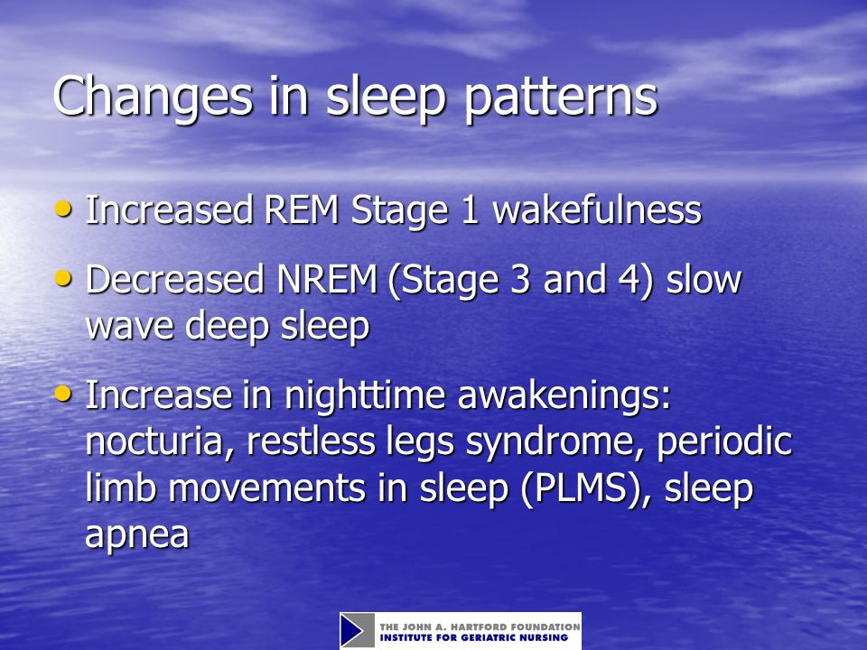 Circadian rhythm Regular variation in physiologic parameters that occur over the course of a 24-hour day Regular variation in physiologic parameters that occur over the course of a 24-hour day Irregular Sleep/Wake Pattern Irregular Sleep/Wake Pattern –Irregular sleep/wake timing –Daytime napping Advanced Sleep Phase Syndrome Advanced Sleep Phase Syndrome –Intractable early evening sleepiness –Awakening between 2 and 4 a.m.