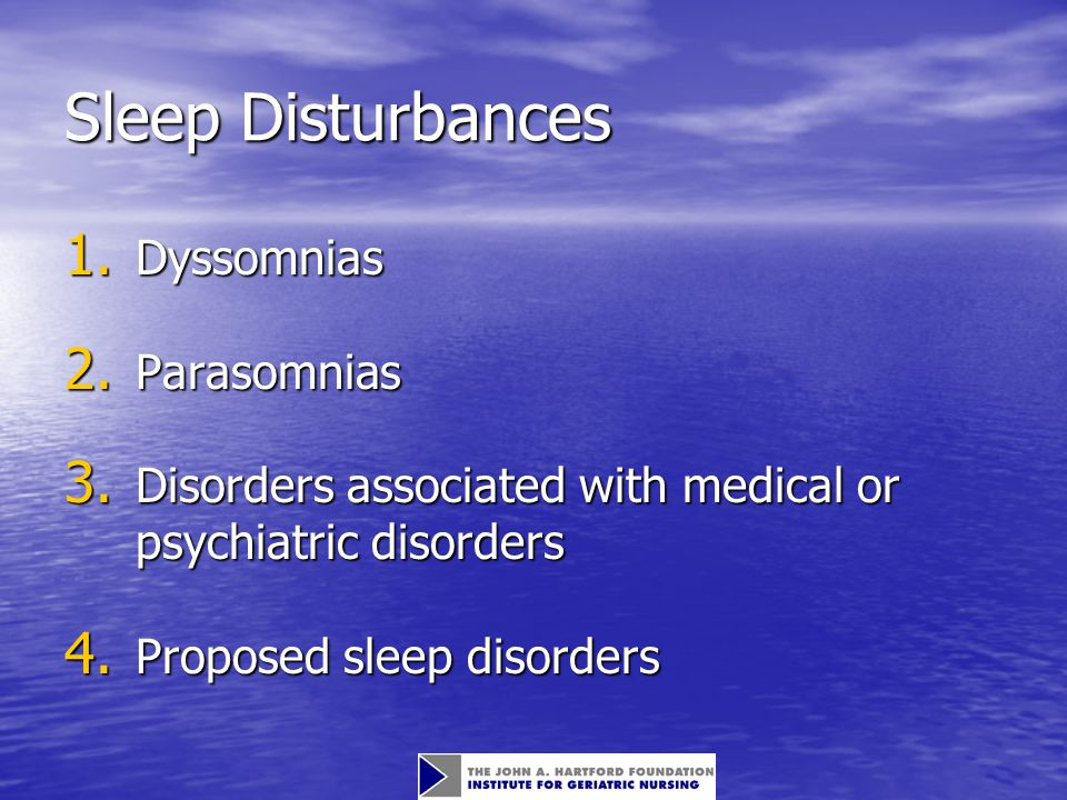 Sleep Disturbances 1. Dyssomnias 2. Parasomnias 3.