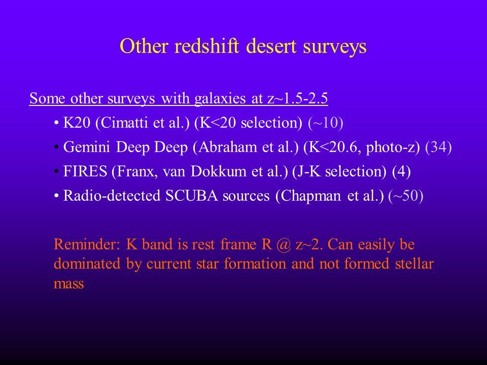 Other redshift desert surveys Some other surveys with galaxies at z~1.5-2.5 K20 (Cimatti et al.) (K<20 selection) (~10) Gemini Deep Deep (Abraham et a