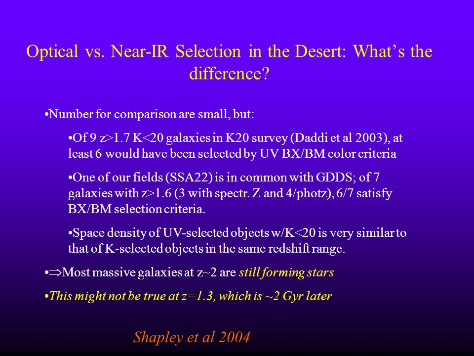 Optical vs. Near-IR Selection in the Desert: Whats the difference? Shapley et al 2004 Number for comparison are small, but: Of 9 z>1.7 K<20 galaxies i