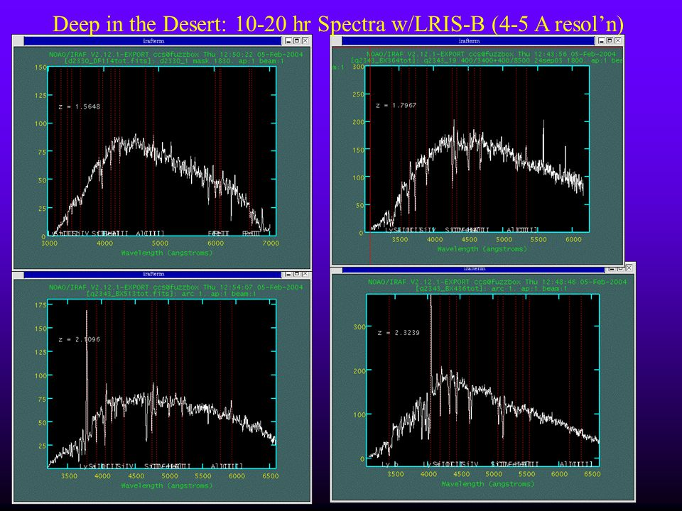 Deep in the Desert: 10-20 hr Spectra w/LRIS-B (4-5 A resoln)
