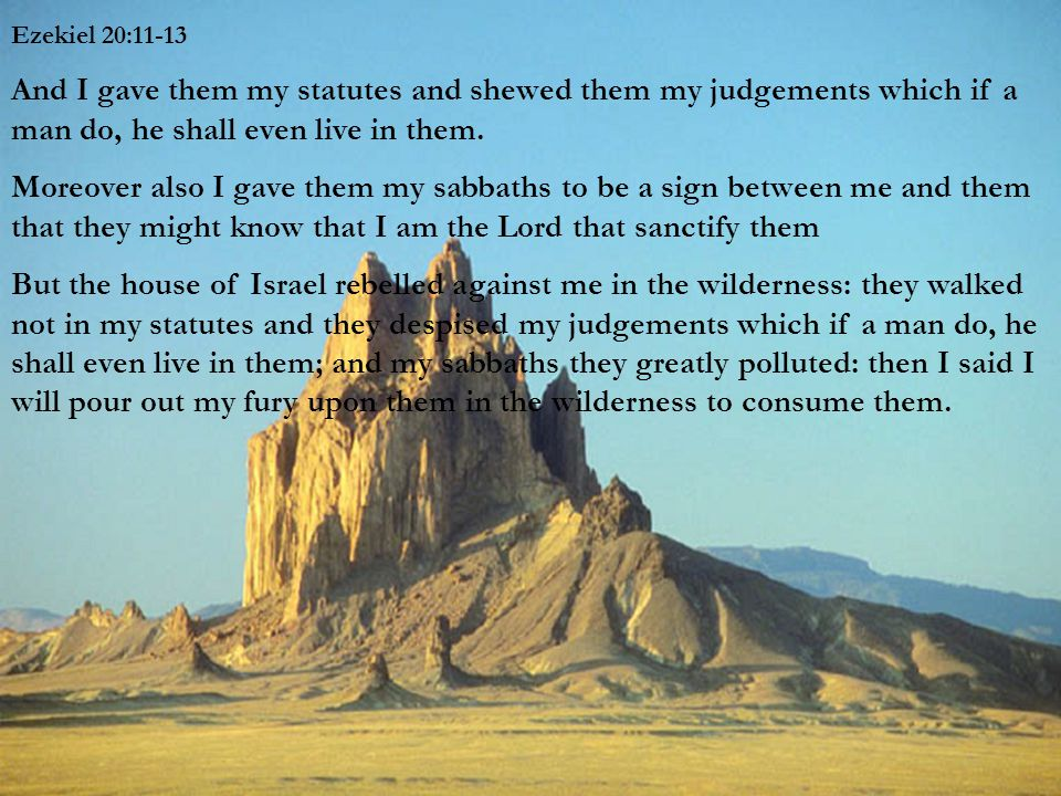 Ezekiel 20:11-13 And I gave them my statutes and shewed them my judgements which if a man do, he shall even live in them.