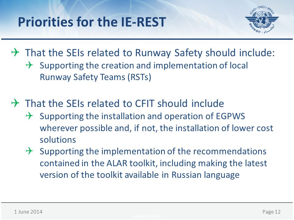 1 June 2014Page 12 Priorities for the IE-REST That the SEIs related to Runway Safety should include: Supporting the creation and implementation of loc