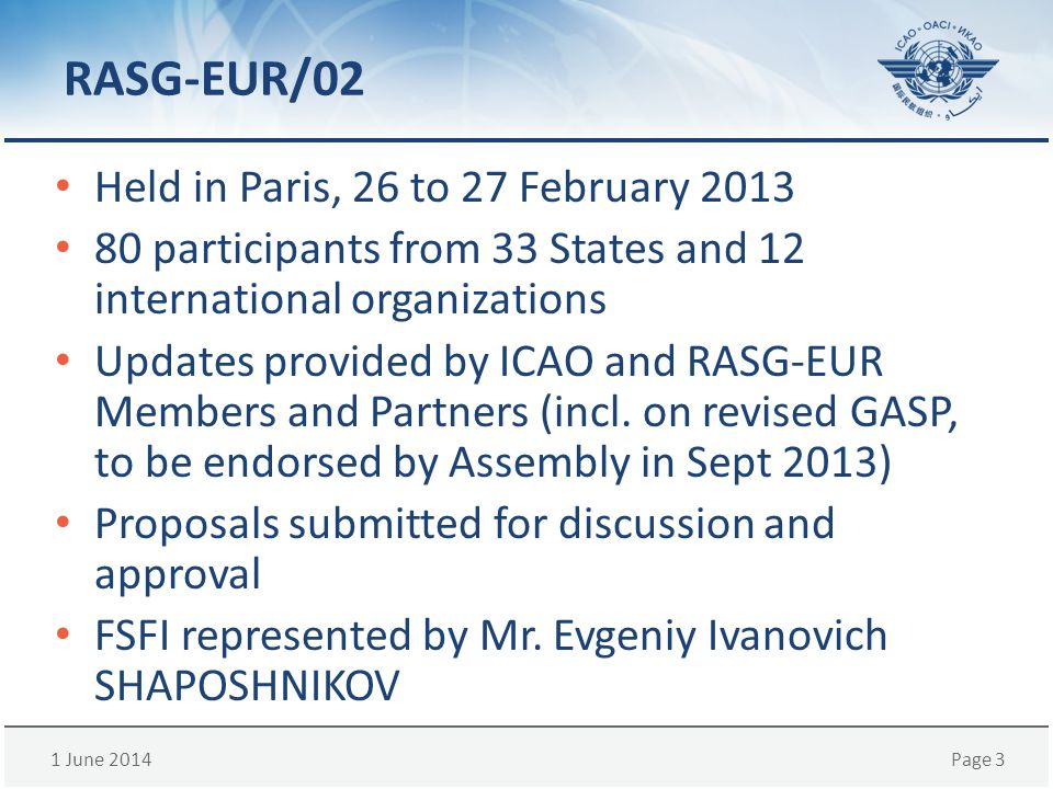 1 June 2014Page 3 RASG-EUR/02 Held in Paris, 26 to 27 February 2013 80 participants from 33 States and 12 international organizations Updates provided