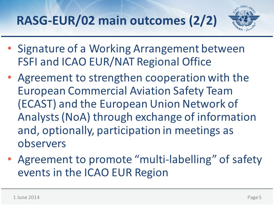 1 June 2014Page 5 RASG-EUR/02 main outcomes (2/2) Signature of a Working Arrangement between FSFI and ICAO EUR/NAT Regional Office Agreement to streng