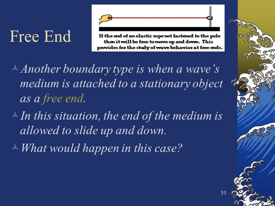 31 Free End Another boundary type is when a waves medium is attached to a stationary object as a free end. In this situation, the end of the medium is