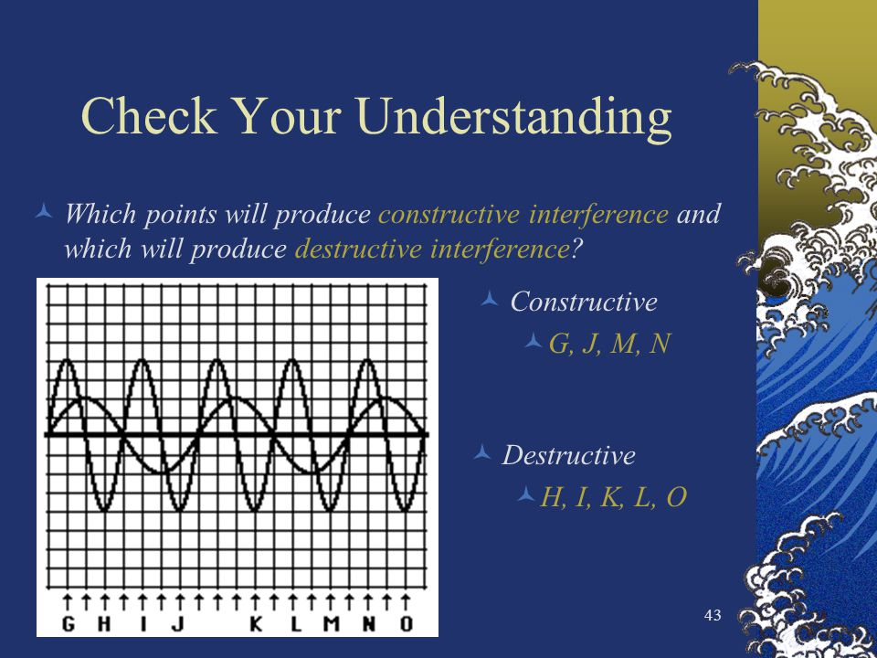 43 Check Your Understanding Which points will produce constructive interference and which will produce destructive interference? Constructive G, J, M,
