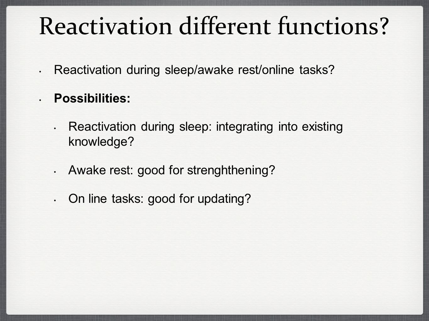 Reactivation different functions. Reactivation during sleep/awake rest/online tasks.