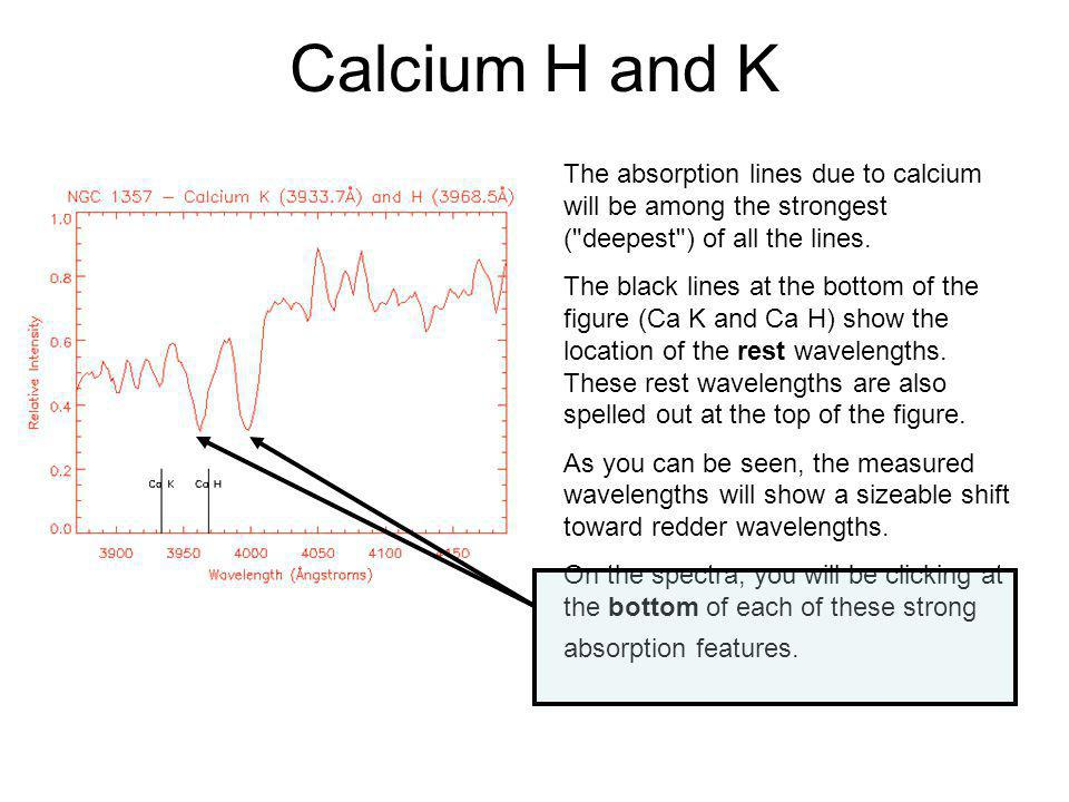 Calcium H and K The absorption lines due to calcium will be among the strongest ( deepest ) of all the lines.