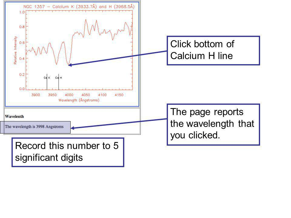 Click bottom of Calcium H line The page reports the wavelength that you clicked.