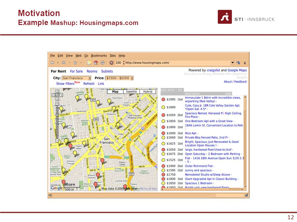 12 Motivation Example Mashup: Housingmaps.com