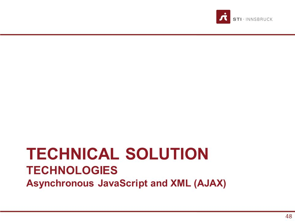 48 TECHNICAL SOLUTION TECHNOLOGIES Asynchronous JavaScript and XML (AJAX)
