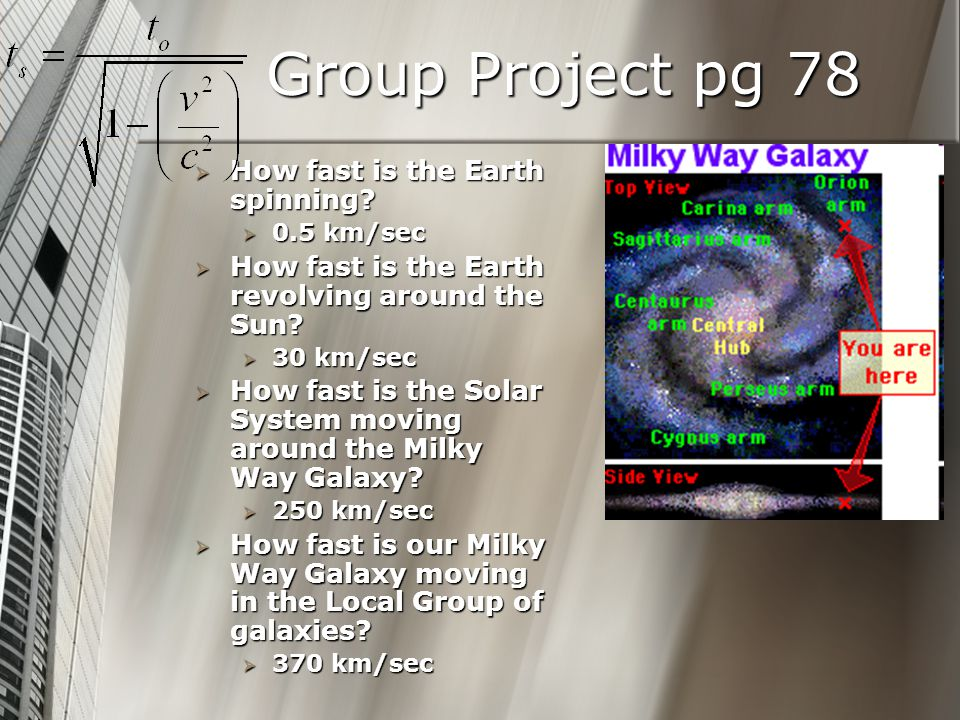 Group Project pg 78 How fast is the Earth spinning.