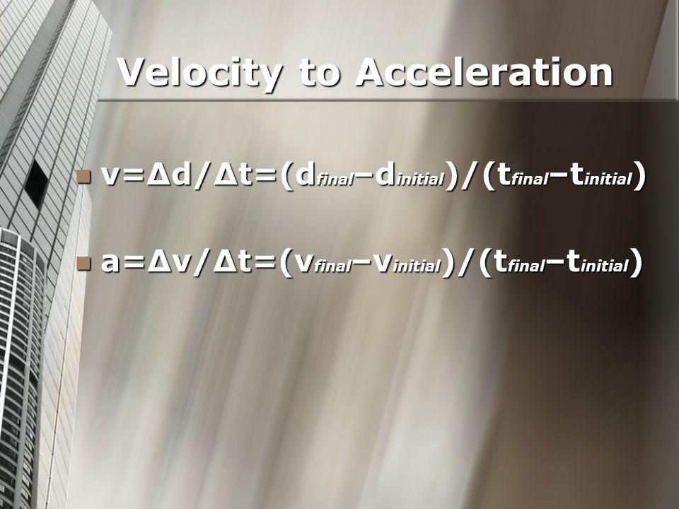 Velocity to Acceleration v=Δd/Δt=(d final –d initial )/(t final –t initial ) v=Δd/Δt=(d final –d initial )/(t final –t initial ) a=Δv/Δt=(v final –v initial )/(t final –t initial ) a=Δv/Δt=(v final –v initial )/(t final –t initial )