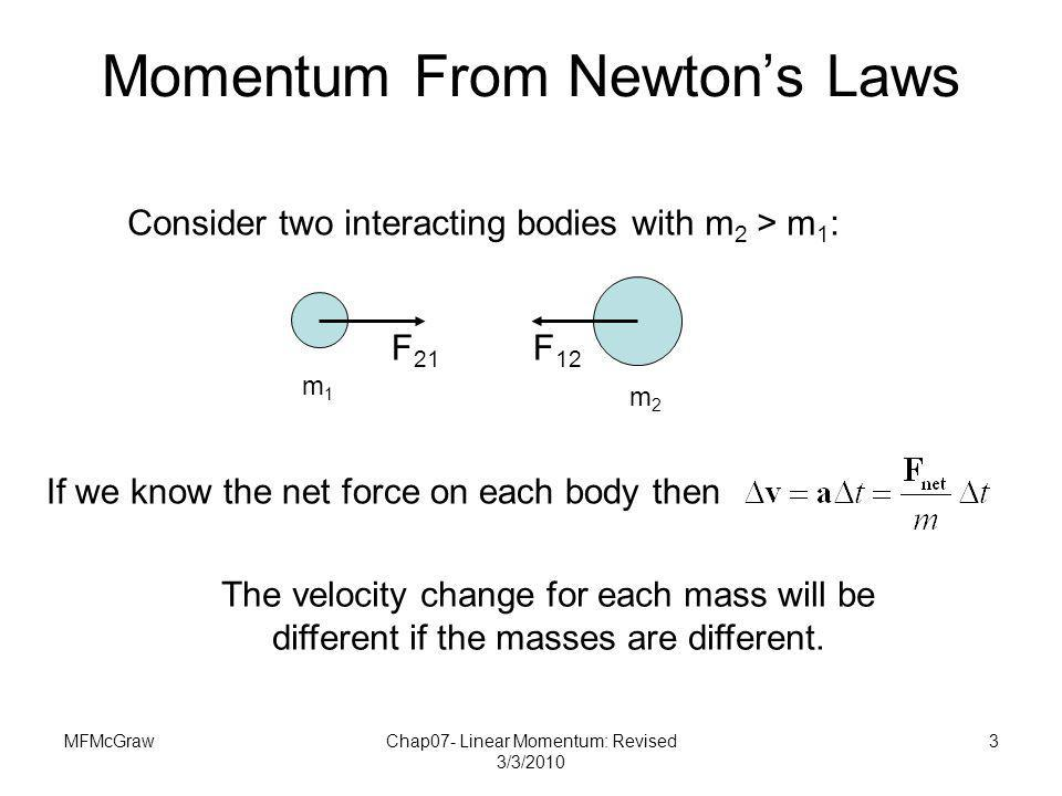 MFMcGrawChap07- Linear Momentum: Revised 3/3/2010 3 Momentum From Newtons Laws Consider two interacting bodies with m 2 > m 1 : If we know the net for