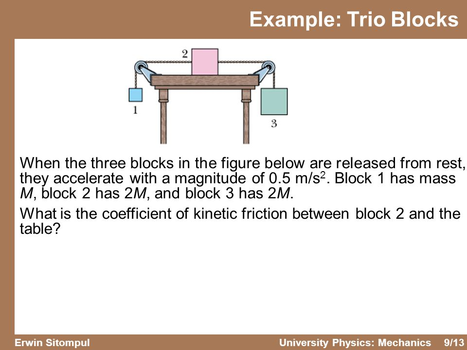 9/13 Erwin SitompulUniversity Physics: Mechanics When the three blocks in the figure below are released from rest, they accelerate with a magnitude of