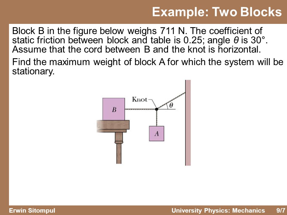 9/7 Erwin SitompulUniversity Physics: Mechanics Block B in the figure below weighs 711 N. The coefficient of static friction between block and table i