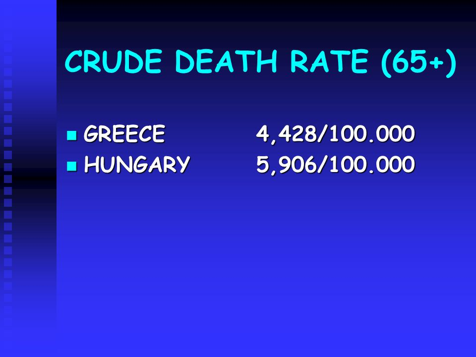 CRUDE DEATH RATE (65+) GREECE4,428/100.000 GREECE4,428/100.000 HUNGARY 5,906/100.000 HUNGARY 5,906/100.000