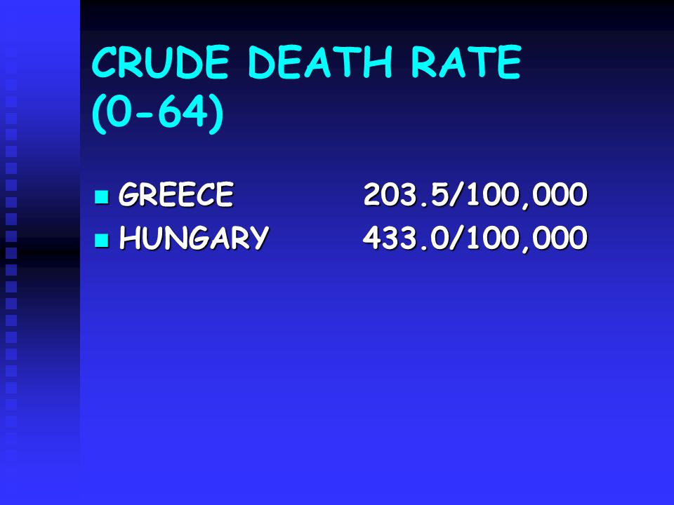 CRUDE DEATH RATE (0-64) GREECE203.5/100,000 GREECE203.5/100,000 HUNGARY 433.0/100,000 HUNGARY 433.0/100,000