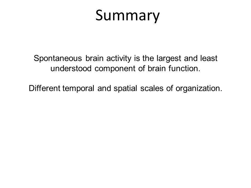 Summary Spontaneous brain activity is the largest and least understood component of brain function. Different temporal and spatial scales of organizat