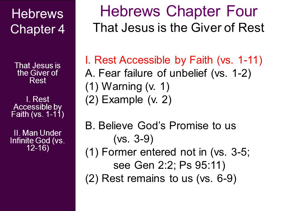 Hebrews Chapter Four That Jesus is the Giver of Rest Hebrews Chapter 4 That Jesus is the Giver of Rest I. Rest Accessible by Faith (vs. 1-11) II. Man