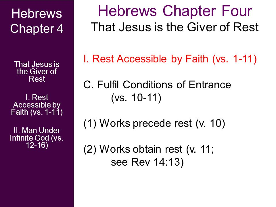Hebrews Chapter Four That Jesus is the Giver of Rest Hebrews Chapter 4 That Jesus is the Giver of Rest I.