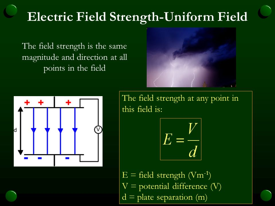 Electric Field A uniform electric field can be produced in the space between two parallel metal plates. The plates are connected to a battery. If an E