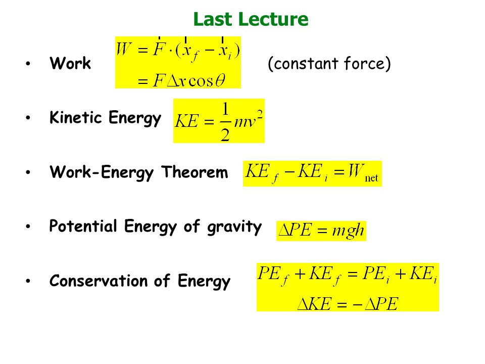 Work and PE for nonconstant force FxFx x x1x1 x2x2 x Work = = Area under curve = - PE