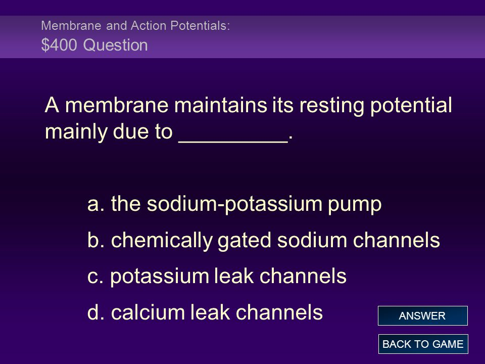 Membrane and Action Potentials: $400 Question A membrane maintains its resting potential mainly due to _________. a. the sodium-potassium pump b. chem