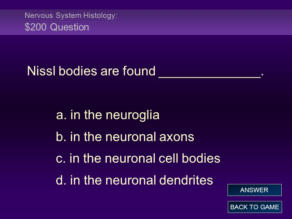 Nervous System Histology: $200 Question Nissl bodies are found ______________. a. in the neuroglia b. in the neuronal axons c. in the neuronal cell bo