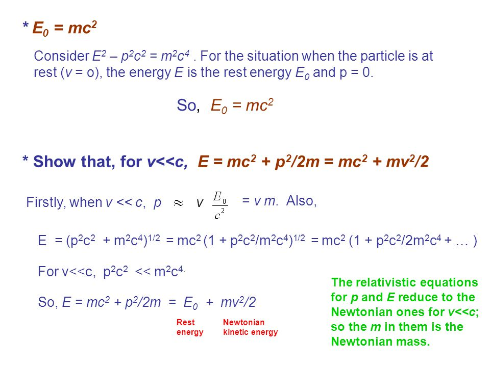 * E 0 = mc 2 Consider E 2 – p 2 c 2 = m 2 c 4. For the situation when the particle is at rest (v = o), the energy E is the rest energy E 0 and p = 0.