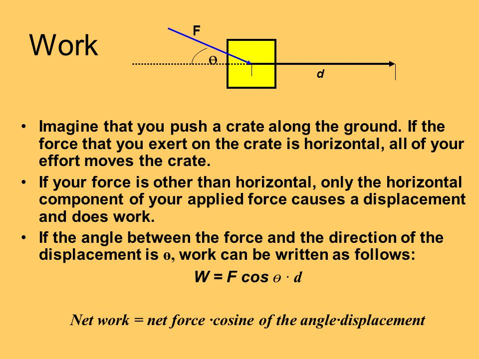 Work Imagine that you push a crate along the ground. If the force that you exert on the crate is horizontal, all of your effort moves the crate. If yo