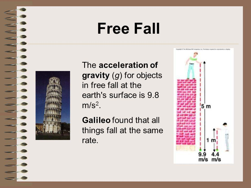 Free Fall The acceleration of gravity (g) for objects in free fall at the earth's surface is 9.8 m/s 2. Galileo found that all things fall at the same