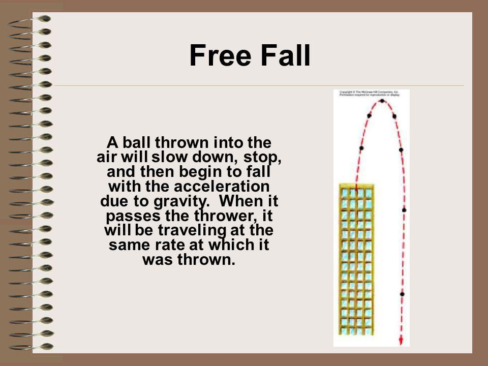 Free Fall A ball thrown into the air will slow down, stop, and then begin to fall with the acceleration due to gravity. When it passes the thrower, it