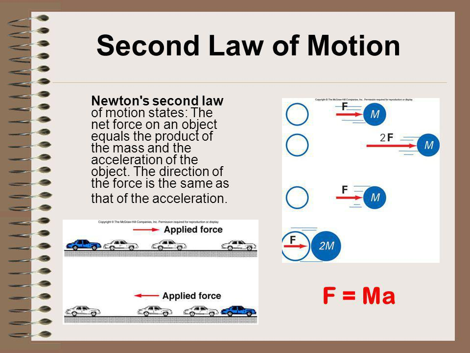 Second Law of Motion Newton's second law of motion states: The net force on an object equals the product of the mass and the acceleration of the objec
