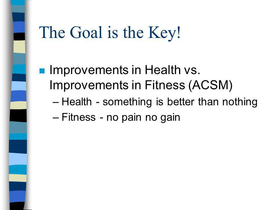 The Goal is the Key. n Improvements in Health vs.