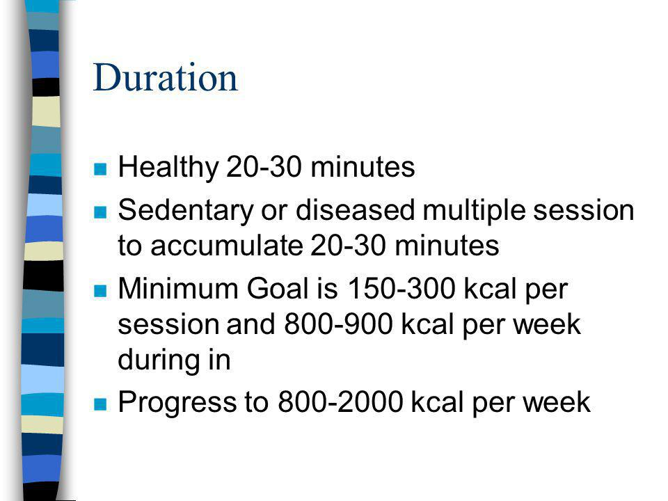 Duration n Healthy 20-30 minutes n Sedentary or diseased multiple session to accumulate 20-30 minutes n Minimum Goal is 150-300 kcal per session and 800-900 kcal per week during in n Progress to 800-2000 kcal per week
