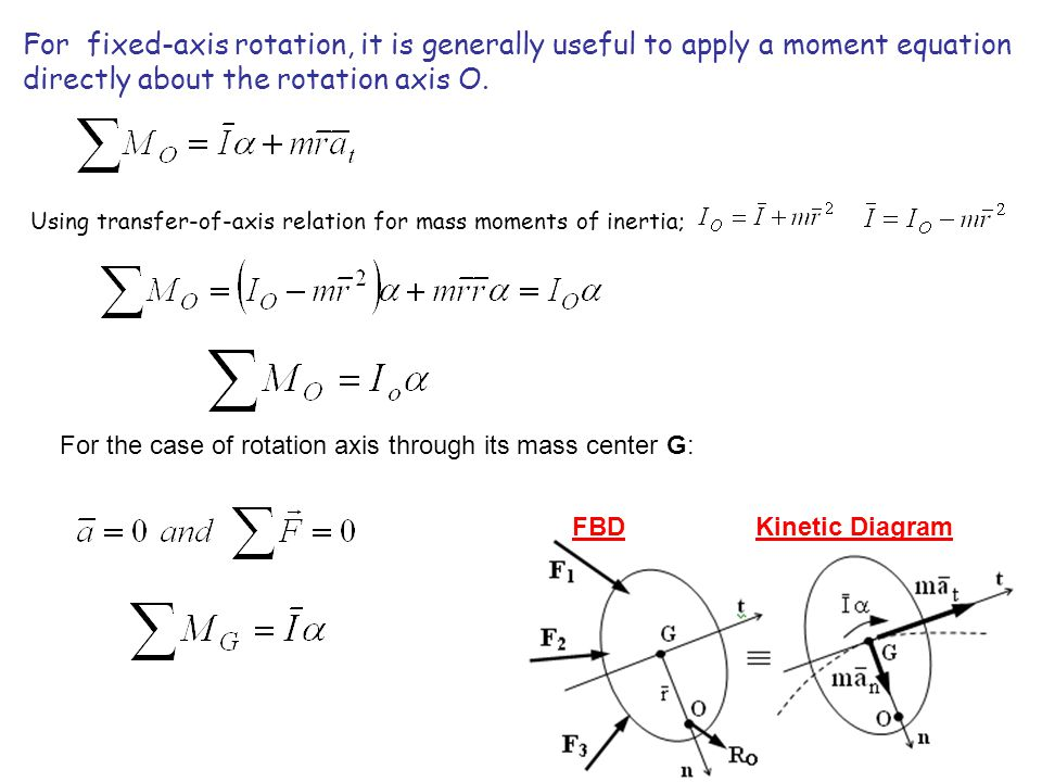 For fixed-axis rotation, it is generally useful to apply a moment equation directly about the rotation axis O. FBD Kinetic Diagram Using transfer-of-a