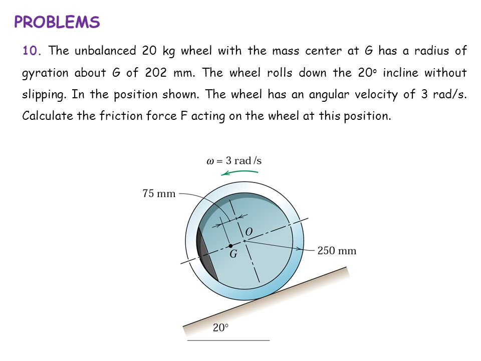 10. The unbalanced 20 kg wheel with the mass center at G has a radius of gyration about G of 202 mm. The wheel rolls down the 20 o incline without sli