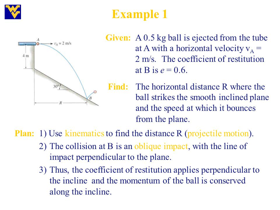 Example 1 Given:A 0.5 kg ball is ejected from the tube at A with a horizontal velocity v A = 2 m/s. The coefficient of restitution at B is e = 0. 6. F
