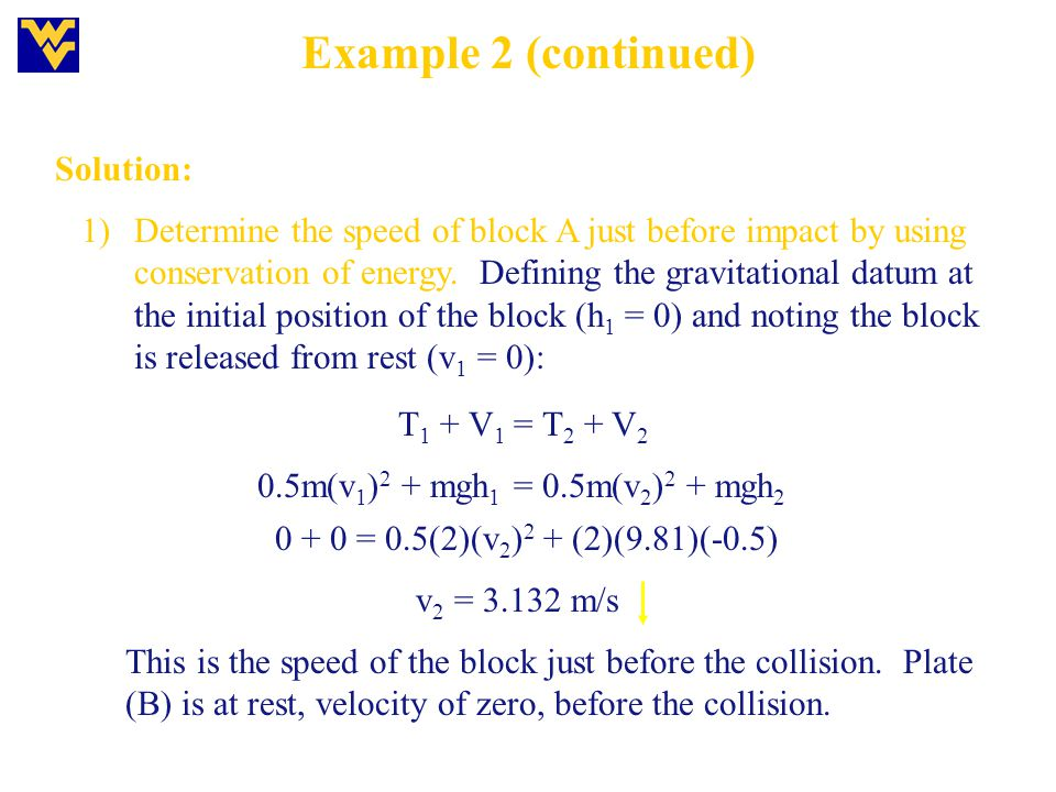 Example 2 (continued) Solution: 0 + 0 = 0.5(2)(v 2 ) 2 + (2)(9.81)(-0.5) 1)Determine the speed of block A just before impact by using conservation of